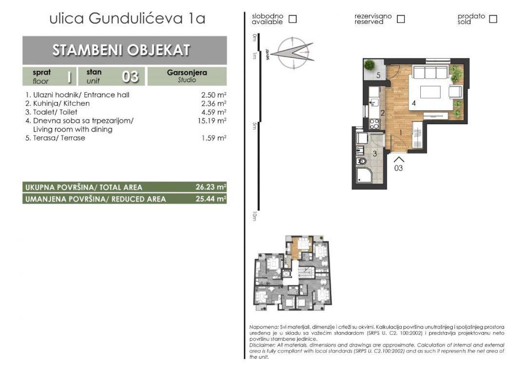 Stan 3 – 25,44m2 Cena 1.450,00-EURA/m2 sa uračunatim PDV-om