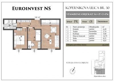 Stan 1 – 45,52m2 – cena 1.300,00-EURA/m2 sa uračunatim PDV-om