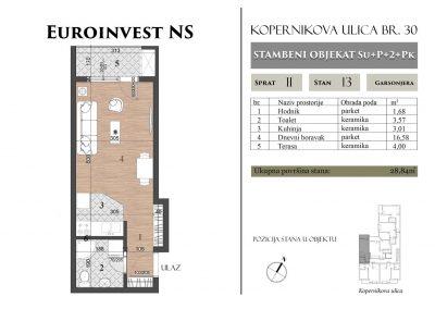 Stan 13 – 28,84m2 – cena 1.450,00-EURA/m2 sa uračunatim PDV-om