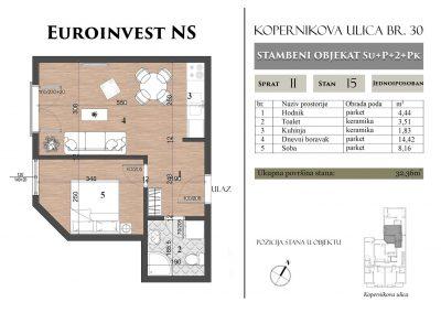 Stan 15 – 32,36m2 – cena 1.400,00-EURA/m2 sa uračunatim PDV-om
