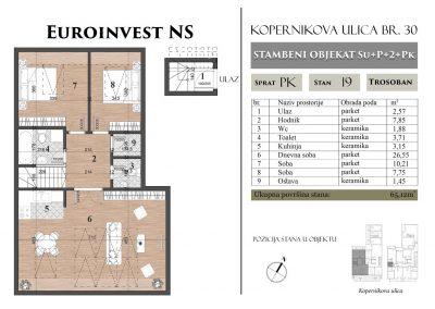 Stan 19 – 65,12m2 – cena 1.100,00-EURA/m2 sa uračunatim PDV-om