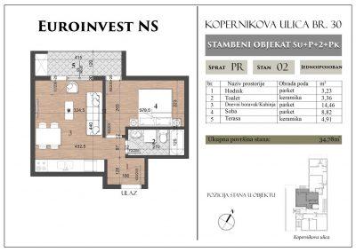 Stan 2 – 34,78m2 – cena 1.300,00-EURA/m2 sa uračunatim PDV-om