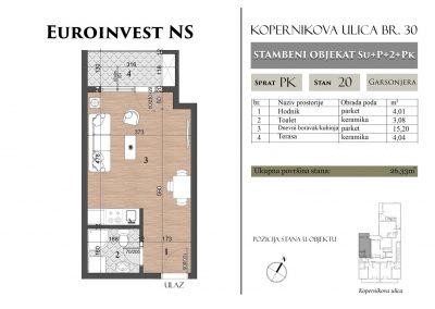 Stan 20 – 26,33m2 – cena 1.450,00-EURA/m2 sa uračunatim PDV-om