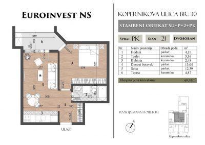 Stan 21 – 40,25m2 – cena 1.300,00-EURA/m2 sa uračunatim PDV-om