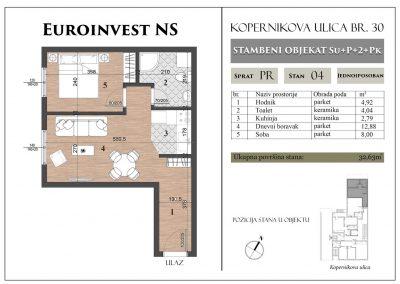 Stan 4 – 32,63m2 – cena 1.300,00-EURA/m2 sa uračunatim PDV-om