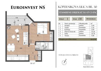 Stan 8 – 42,57m2 – cena 1.350,00-EURA/m2 sa uračunatim PDV-om