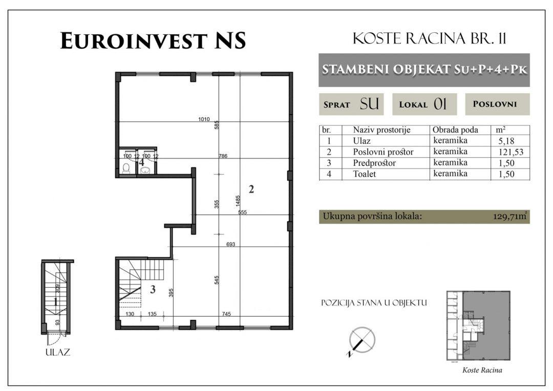 Lokal 01 – 129,71m2 – cena 950,00-EURA/m2 sa uračunatim PDV-om