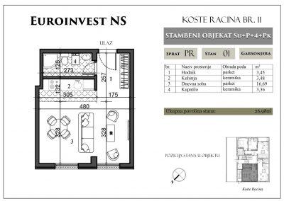 Stan 1 – 26,98m2 – cena 1.400,00-EURA/m2 sa uračunatim PDV-om