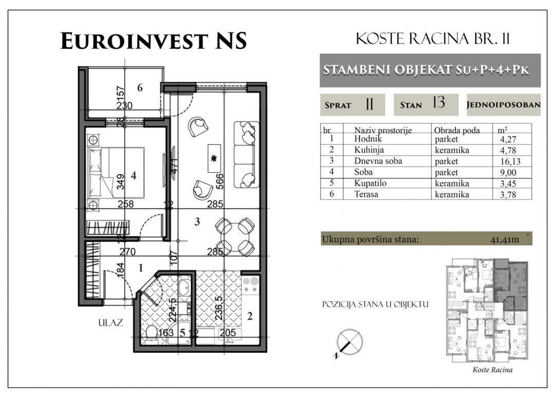 Stan 13 – 41,41m2 – cena 1.400,00-EURA/m2 sa uračunatim PDV-om