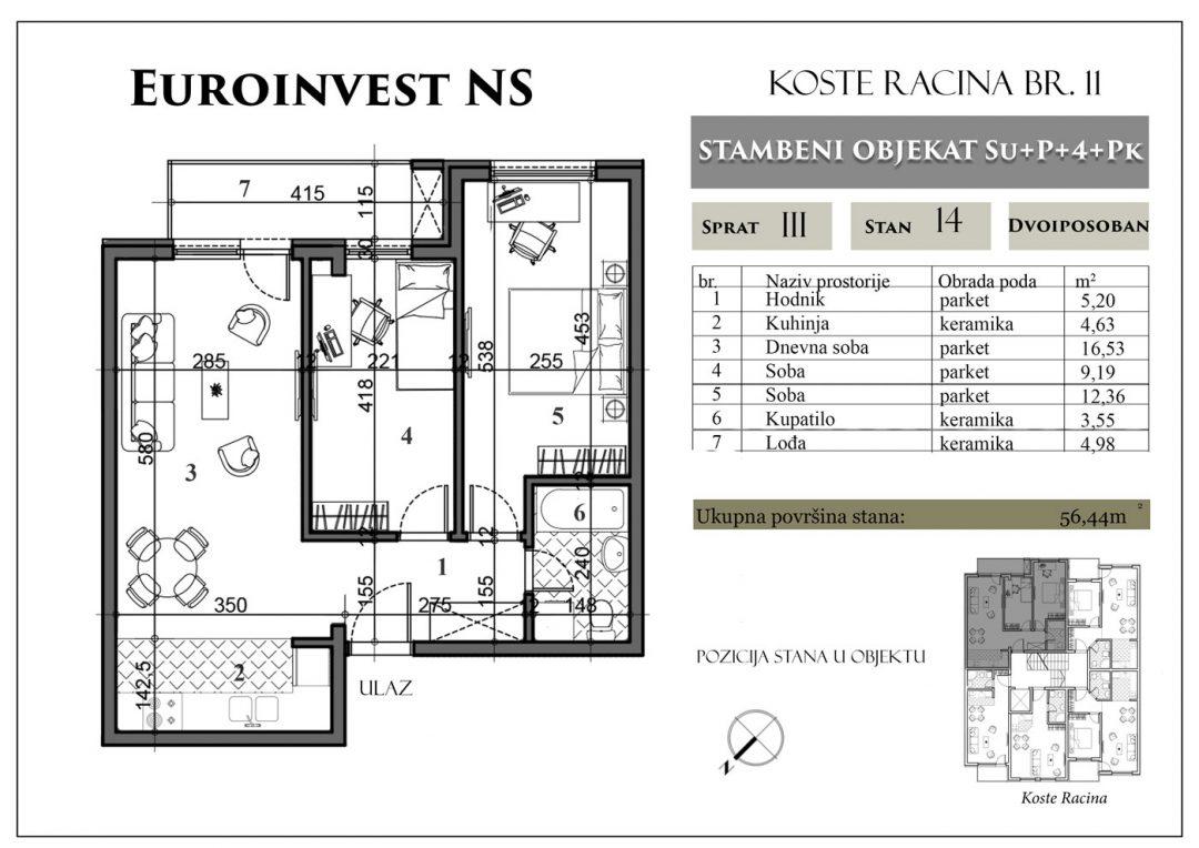 Stan 14 – 56,44m2 – cena 1.450,00-EURA/m2 sa uračunatim PDV-om i parking mestom