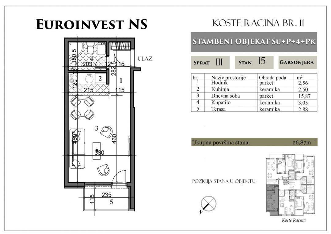 Stan 15 – 26,87m2 – cena 1.450,00-EURA/m2 sa uračunatim PDV-om