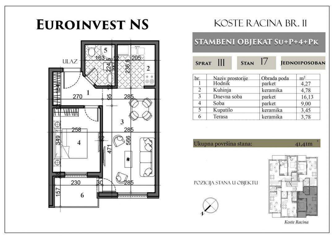 Stan 17 – 41,41m2 – cena 1.400,00-EURA/m2 sa uračunatim PDV-om