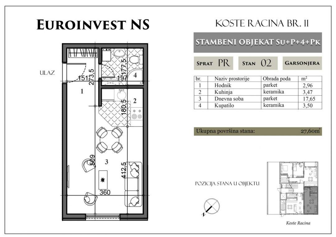 Stan 2 – 27,60m2 – cena 1.400,00-EURA/m2 sa uračunatim PDV-om