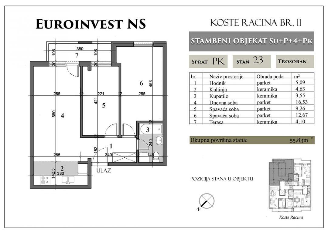 Stan 23 – 55,96m2 – cena 1.450,00-EURA/m2 sa uračunatim PDV-om i parking mestom