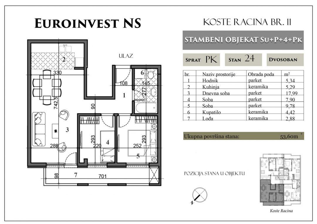 Stan 24 – 53,60m2 – cena 1.250,00-EURA/m2 sa uračunatim PDV-om