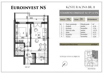 Stan 26 – 40,85m2 – cena 1.350,00-EURA/m2 sa uračunatim PDV-om