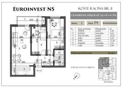 Stan 4 – 56,44m2 – cena 1.300,00-EURA/m2 sa uračunatim PDV-om