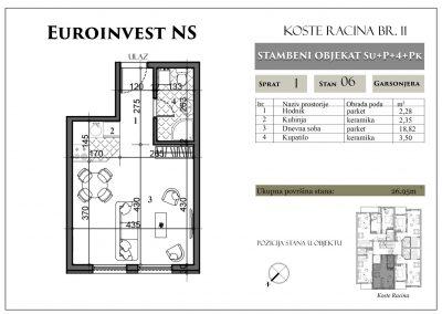 Stan 6 – 26,95m2 – cena 1.450,00-EURA/m2 sa uračunatim PDV-om
