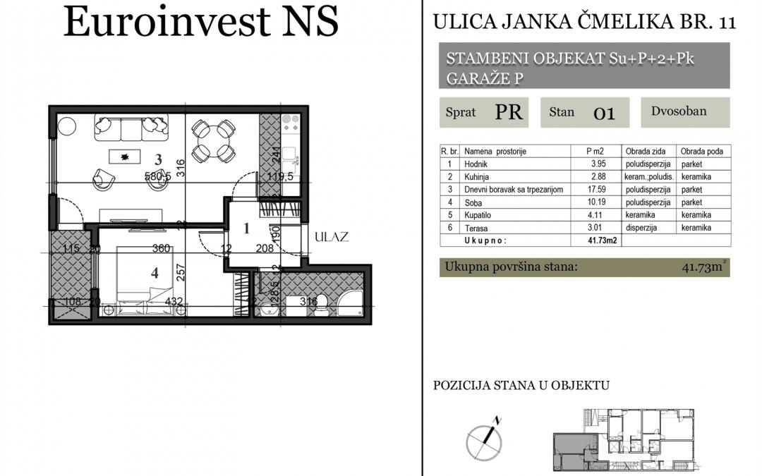 Stan 01 – 41.73m2 – cena 1.300,00-EURA/m2 sa uračunatim PDV-om