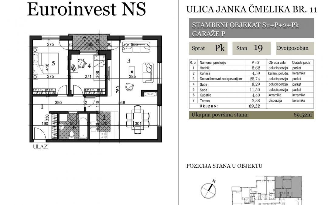 Stan 19 – 69.52m2 – cena 1.300,00-EURA/m2 sa uračunatim PDV-om