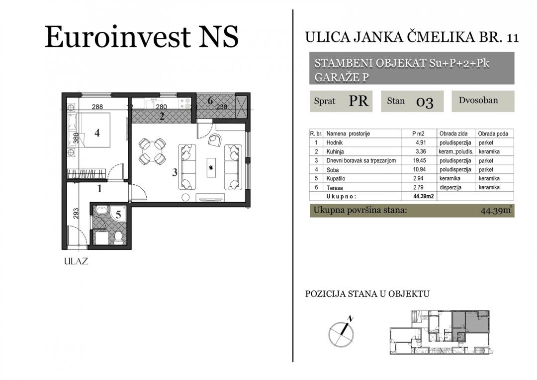 Stan 03 – 44.39m2 – cena 1.300,00-EURA/m2 sa uračunatim PDV-om
