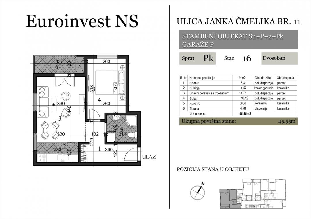 Stan 16 – 45.55m2 – cena 1.350,00-EURA/m2 sa uračunatim PDV-om