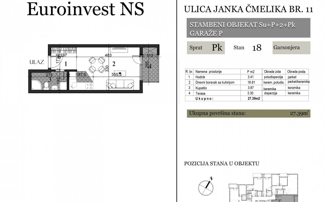 Stan 18 – 27.39m2 – cena 1.400,00-EURA/m2 sa uračunatim PDV-om