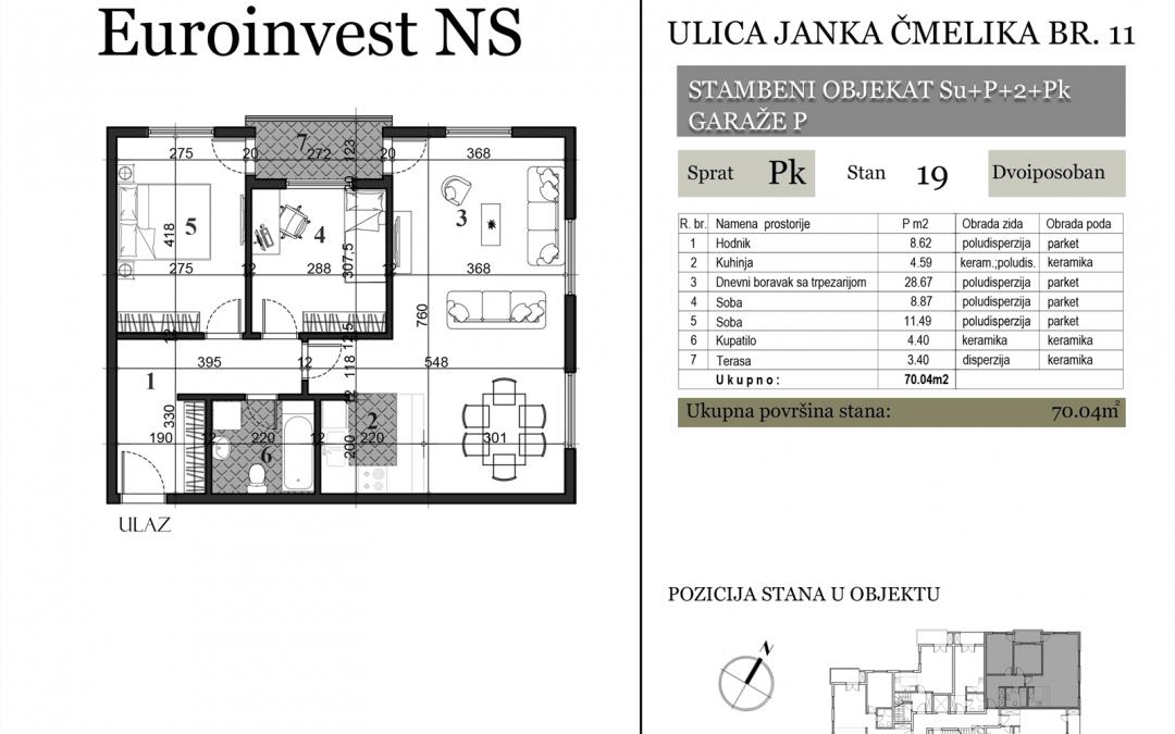 Stan 19 – 70.04m2 – cena 1.300,00-EURA/m2 sa uračunatim PDV-om