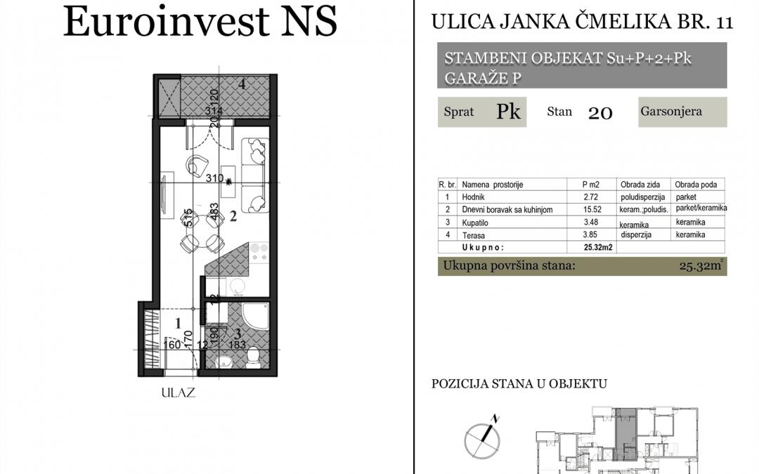 Stan 20 – 25.32m2 – cena 1.400,00-EURA/m2 sa uračunatim PDV-om