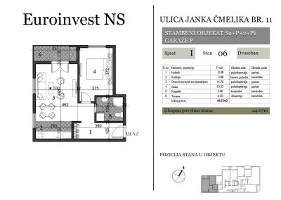 Stan 06 – 44.07m2 – cena 1.400,00-EURA/m2 sa uračunatim PDV-om