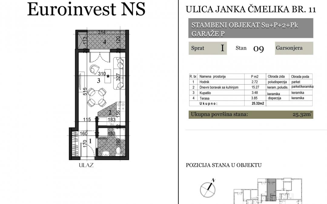 Stan 09 – 25.32m2 – cena 1.450,00-EURA/m2 sa uračunatim PDV-om