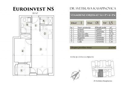 Stan 01 – 37.27m2 – cena 1.450,00-EURA/m2 sa uračunatim PDV-om