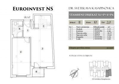 Stan 10 – 42.95m2 – cena 1.400,00-EURA/m2 sa uračunatim PDV-om