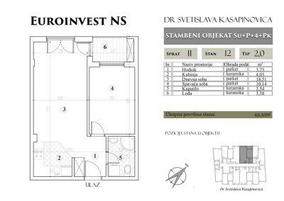 Stan 12 – 43.33m2 – cena 1.400,00-EURA/m2 sa uračunatim PDV-om