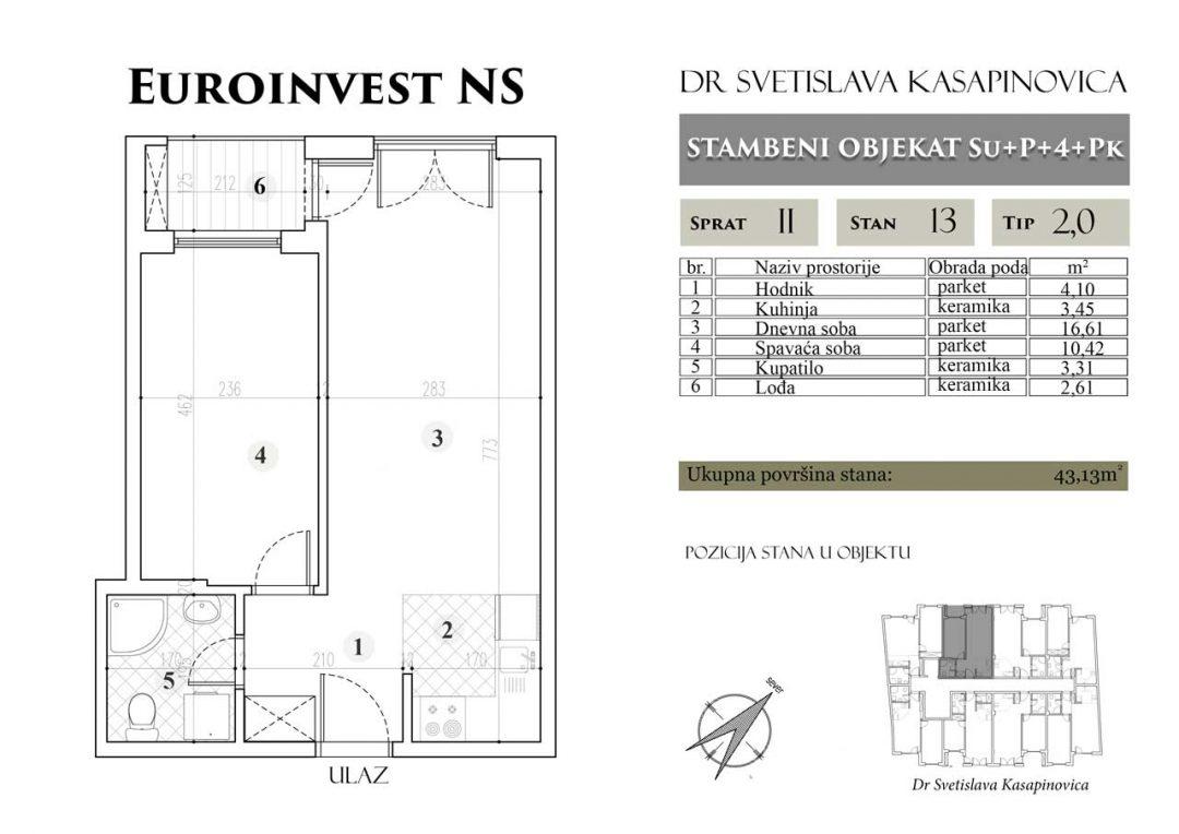 Stan 13 – 43.13m2 – cena 1.400,00-EURA/m2 sa uračunatim PDV-om