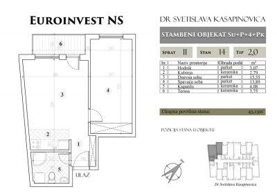 Stan 14 – 43.13m2 – cena 1.400,00-EURA/m2 sa uračunatim PDV-om