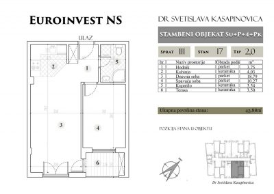 Stan 17 – 43.88m2 – cena 1.400,00-EURA/m2 sa uračunatim PDV-om