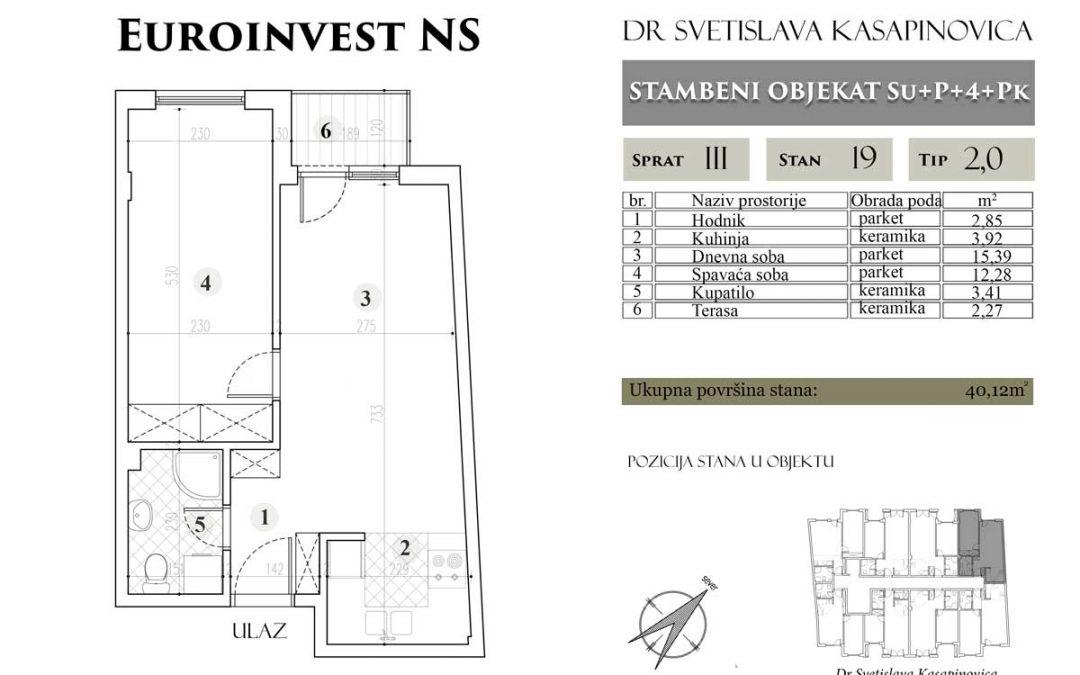 Stan 19 – 40.12m2 – cena 1.400,00-EURA/m2 sa uračunatim PDV-om