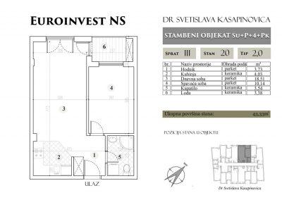 Stan 20 – 43.33m2 – cena 1.400,00-EURA/m2 sa uračunatim PDV-om