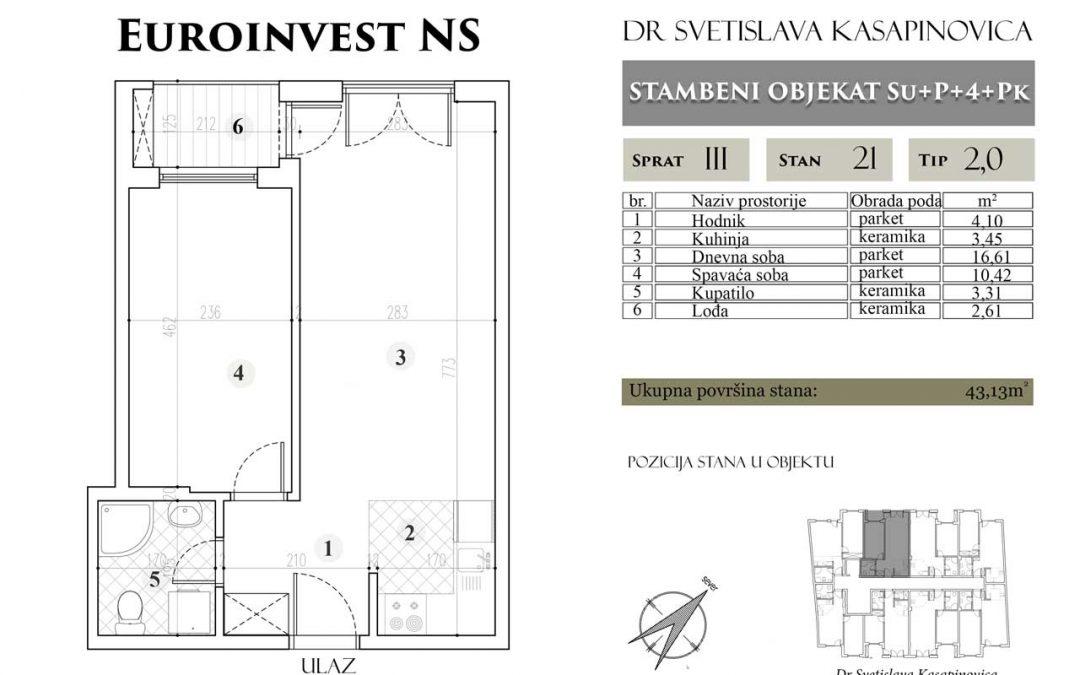 Stan 21 – 43.13m2 – cena 1.400,00-EURA/m2 sa uračunatim PDV-om