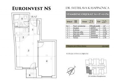 Stan 23 – 35.04m2 – cena 1.450,00-EURA/m2 sa uračunatim PDV-om