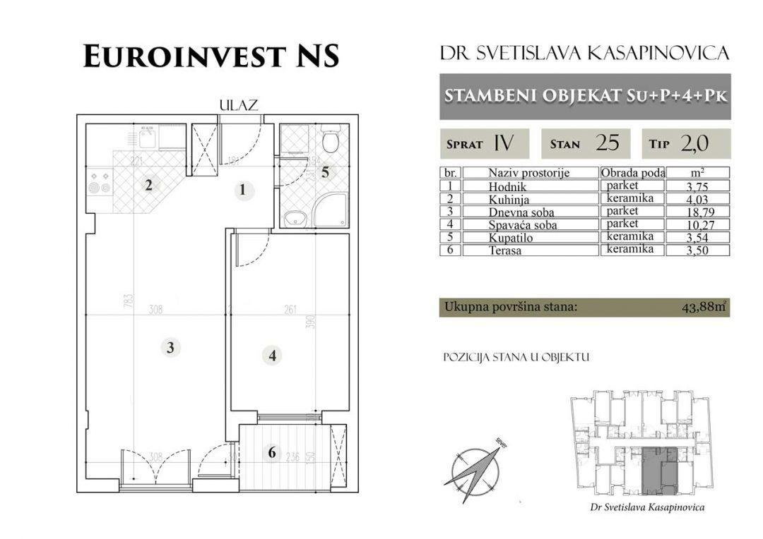 Stan 25 – 43.88m2 – cena 1.400,00-EURA/m2 sa uračunatim PDV-om