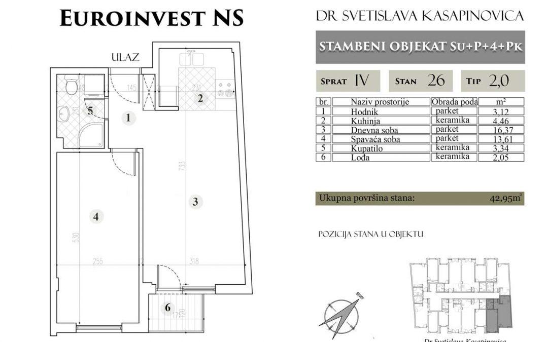 Stan 26 – 42.95m2 – cena 1.400,00-EURA/m2 sa uračunatim PDV-om