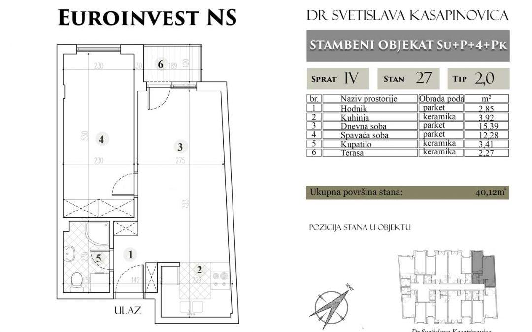 Stan 27 – 40.12m2 – cena 1.400,00-EURA/m2 sa uračunatim PDV-om
