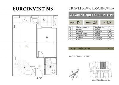 Stan 28 – 43.33m2 – cena 1.400,00-EURA/m2 sa uračunatim PDV-om