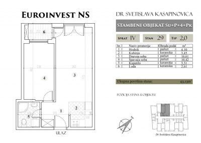 Stan 29 – 43.13m2 – cena 1.400,00-EURA/m2 sa uračunatim PDV-om