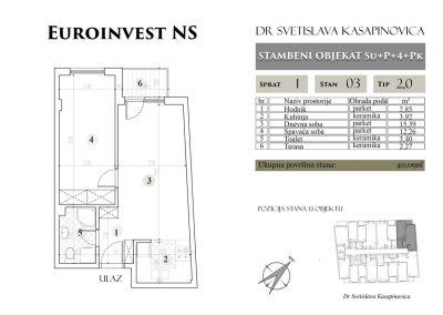 Stan 03 – 40.09m2 – cena 1.400,00-EURA/m2 sa uračunatim PDV-om