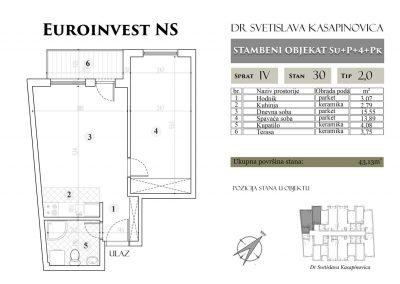 Stan 30 – 43.13m2 – cena 1.400,00-EURA/m2 sa uračunatim PDV-om