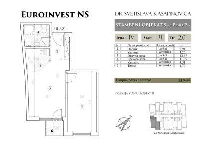Stan 31 – 35.04m2 – cena 1.450,00-EURA/m2 sa uračunatim PDV-om