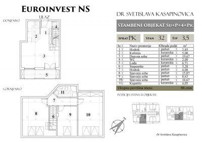 Stan 32 – 88.10m2 – cena 1.100,00-EURA/m2 sa uračunatim PDV-om